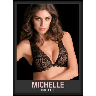 Love&bra Reggiseno Michelle bralette balconcino imbottito con ferretto in pizzo ART.MICHELLE Nero-Natural